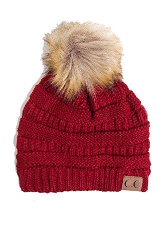 ScarvesMe C.C Soft Stretch Cable Knit Ribbed Faux Fur Pom Pom Beanie Hat