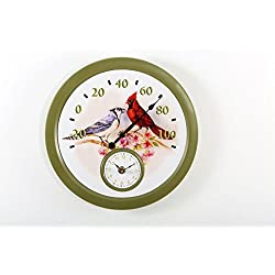 Cardinal and Blue Jay Wall Clock with Thermometer