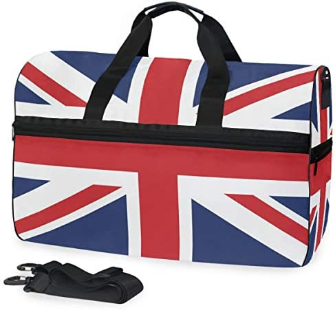 KUWT British Flag Union Jack Travel Duffel Bag for Women Men Sport Gym Bag with Shoes Compartment Overnight Weekend Bag