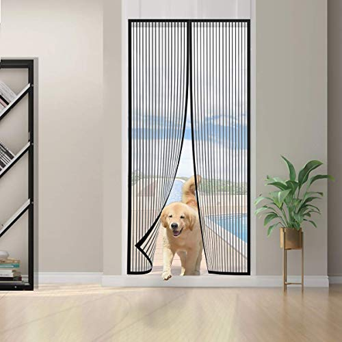 1Pack Magnetic Fly Screen Door Mesh Curtain with Powerful Magnets Full Frame Magic Tape Insect Protection Black