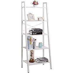 Lifewit Modern 5 Shelf Ladder Bookcase, 5 Tiers Storage Rack, Carbon Steel, White