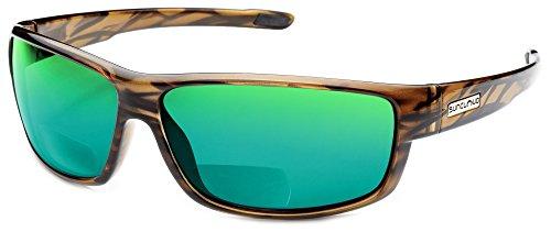 Suncloud Voucher Polarized Bi-Focal Reading Sunglasses in Brown-Stripe w/Green Mirror Lens +1.50