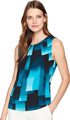 Calvin Klein Women's Printed Pleat Neck Cami Lagoon Multi ()