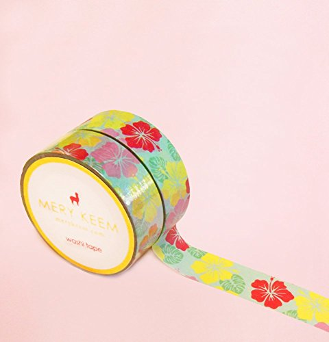 Hawaii Summer Flower Washi Tape for Planning • Scrapbooking • Arts Crafts • Office • Party Supplies • Gift Wrapping • Colorful Decorative • Masking Tapes • DIY from MERYKEEM