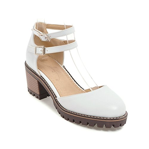 Cómodo de tacón hueco grueso de primavera y verano sandalias de mujer white