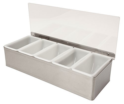 Stainless steel 5 Compartment Condiment Dispenser Cocktail Garnish Tray by Beaumont by Beaumont