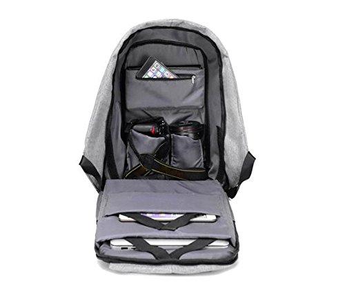 YUEER Señoras Mochila Casual USB Carga Hombres Deportes Seguridad Simplicidad Estudiante Viajes Bolsa De La Cámara,Grey Blue