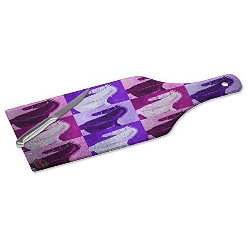 (Wine Bottle Shape Glass Cutting Board - Black Percheron Draft Horse Pink Pattern Art by Denise Every)