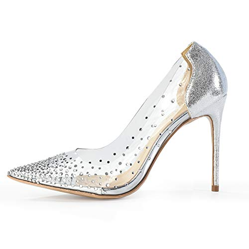 Miluoro Women Pointed Toe Transparent Rhinestones High Heels Party Wedding Pumps (6, Silver 3.94inches) ()