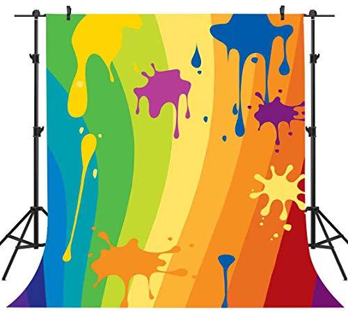 - PHMOJEN Graffiti Style Backdrop Rainbow Pattern Paint Splash Photography Background Hip Hop 80's 90's Theme Birthday Party Backdrop Studio Props 5x7ft GYPH318