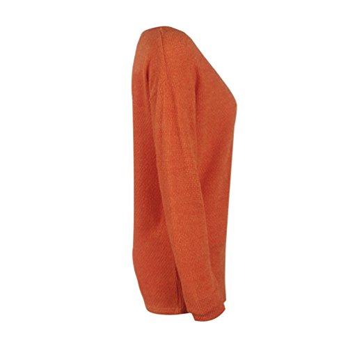 Couleur V Jumper Tops Col Casual Les Jours Lache Mode Tous Pullover Unie Chandail Femmes Pulls Sweater Manches Tricots Automne Orange et Blouse Tunique de Printemps Hauts Longues w7aqY6Y