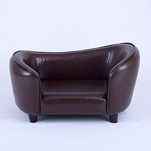 FixtureDisplays Contemporary Chocolate Brown PU Leather Dog Sofa Bed Couch Chaise Cat Seat 12198 12198!