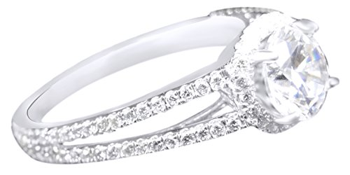 (AFFY White Natural Diamond Split Shank Halo Semi Mount Solitaire Ring in 14k White Gold (0.4 Cttw, I2-I3 Clarity, I-J Color) )