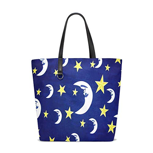 Price comparison product image Moon And Stars Tote Bag Purse Handbag Womens Gym Yoga Bags for Girls