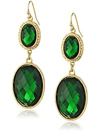 Gold-Tone Emerald Green Faceted Oval Drop Earrings
