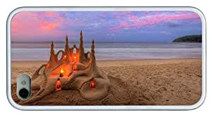 Hipster carrying iPhone 4S cases beach sandcastle TPU White for Apple iPhone 4/4S by icecream design