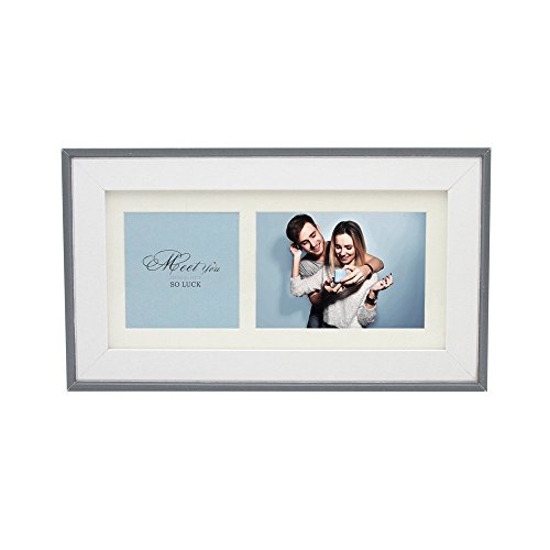 SUMGAR Wooden Collage Picture Frame for Desk with Modern white Mat in Black Grey Thin Edge for Small Double Photos 3.5x5 and 3.5x3.5