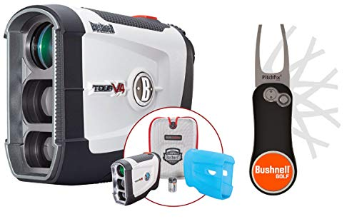 Bushnell Tour V4 (Standard) Golf Laser Rangefinder Patriot Pack Bundle with PlayBetter Pitchfix Divot Tool & Bushnell Golf Magnetic Ball Marker | Pinseeker Jolt
