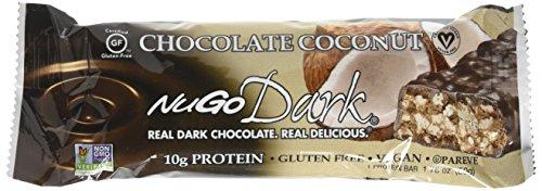 NuGo Dark Gluten Free Vegan Dark Chocolate, Coconut, 1.76 oz, 12 (Chocolate Enrobed Almonds)