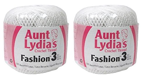 Aunt Thread Crochet S Lydia - Aunt Lydia's Crochet Thread - Size 3 - (2-Pack) White