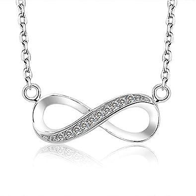 Amazon schmuck  925 Sterling Silber Zirkonia Unendlichkeit Anhänger Halskette ...