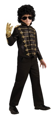 Michael Jackson Costume, Child's Deluxe Military Jacket, Black Costume -Large