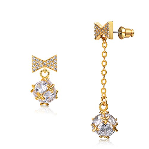 - Mismatched/Asymmetric CZ Drop Earrings Butterfly Knot&Crystal Ball, Gold Plated Chic Long Dangle Earrings For Women