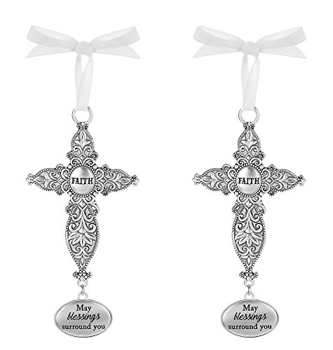 Ganz Set of 2 Cross Ornaments - May Blessings Surround You