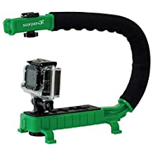 Cam Caddie Scorpion Jr. Video Camera Stabilizing Handle with Included Smartphone and GoPro Compatible Mounts - Green (0CC-0100-JR-GRN)