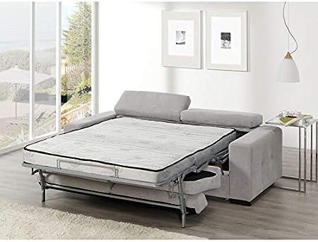 SHIITO Sofa Cama Sistema Italiano 215 cm. Aqua tapizado Color Gris.