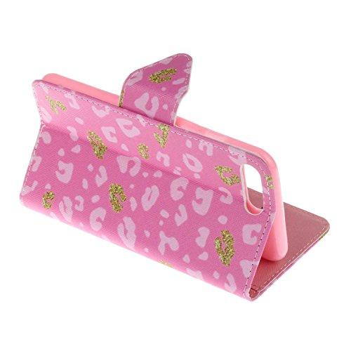 Guran® PU Leder Tasche für iPhone 7 Plus (5.5 Zoll) Smartphone Flip Deckung Stehen Funktion und Karte Slot Case-rosa leopard