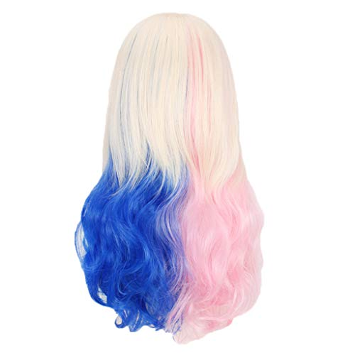 Jaromepower 18'' Beige Gradual Half Pink and Half Blue Wigs Long Curly Anime Wigs Straight Fringe Wigs 3 Tone Synthetic Wigs for Costume Festival Parties Halloween Wigs Cosplay -