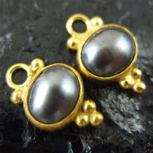 Ancient Design Jewelry Handmade Gray Pearl Charm For Hoop Earring 22K Gold Over 925K Sterling Silver ()