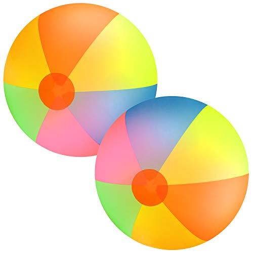 (Elcoho 2 Pack Jumbo Inches Beach Balls Classic Rainbow 48