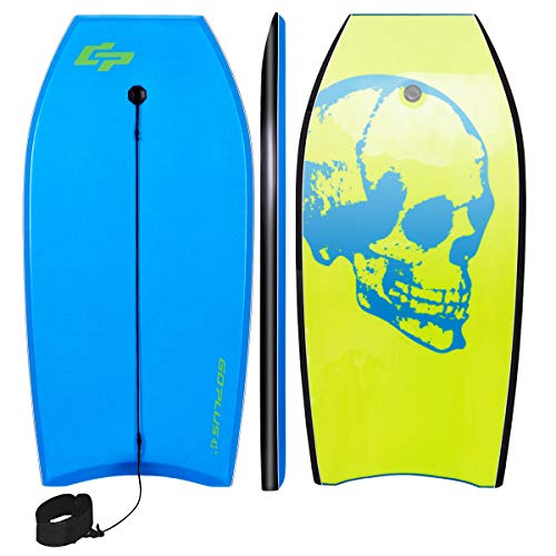 Goplus 41 inch Super Bodyboard Body Board EPS Core, IXPE Deck, HDPE Slick Bottom with Leash, Light Weight Perfect Surfing for Kids and Adults (Blue Green)