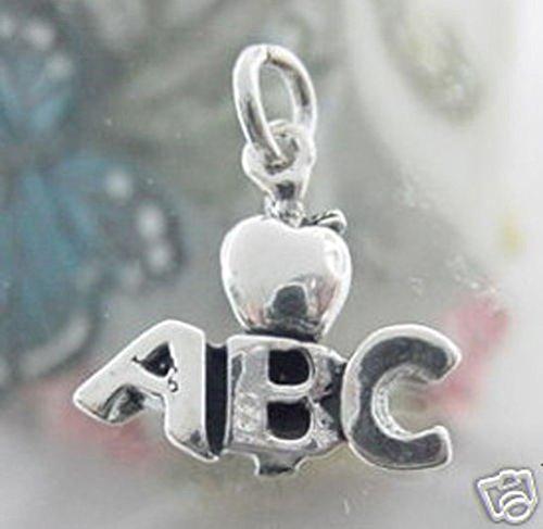 Sandra Creative Design Silver-tone ABC Apple School Charm