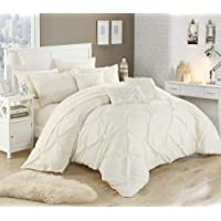 Chic Home 10 Piece Hannah Pinch Pleated, ruffled and pleated complete King Bed In a Bag Comforter Set Beige With sheet set
