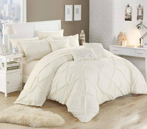- Chic Home 10 Piece Hannah Pinch Pleated, ruffled and pleated complete King Bed In a Bag Comforter Set Beige With sheet set