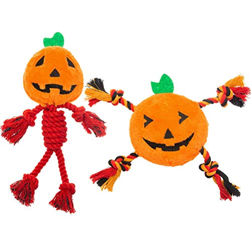 Funny Halloween Pumpkin Designs (PUPTECK 2 PCS Halloween Dog Squeaky Chew Toys - Funny Pumpkin Plush Stuffed Toys for Puppy Pet Tugging)