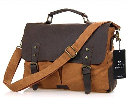 YAAGLE Unisex Mens Womens canvas & Leather VintageMessenger Bag laptop crossbody Shoulder bag Casual College University Schoolbag Bookbag