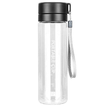 LUCHA Botella de Agua de plástico de Gran Capacidad con Filtro, portátil, Botella de