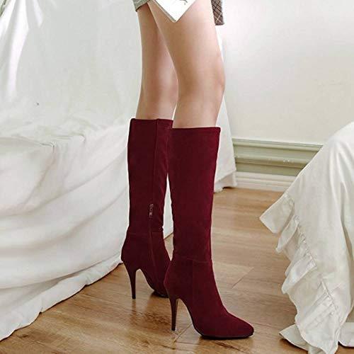 Genou Longue Chaussures Bottes Haut Claret Taoffen Femmes Zipper Simple Talon qxwtPCv