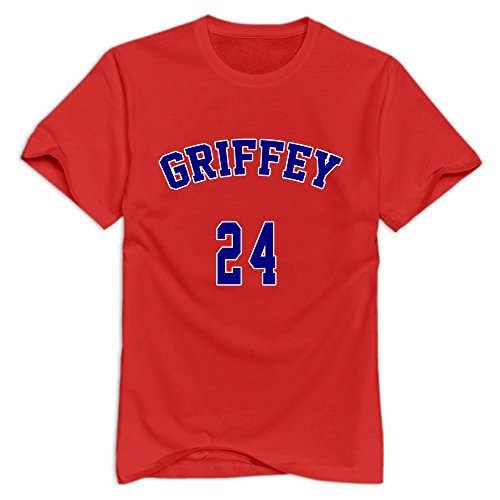 (JJTD Men's Griffey 24 T-Shirt Red US Size L)