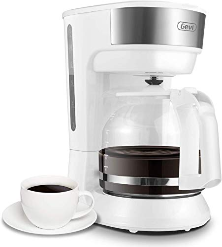 Gevi Coffee Maker 12 Cup Instant Drip Coffee Brewer Machine with Glass Carafe for Home and Office, White