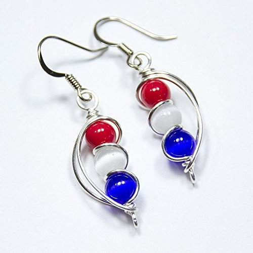 Red White and Blue American USA Flag Dangle Earrings 4th of July Independence Day Gift