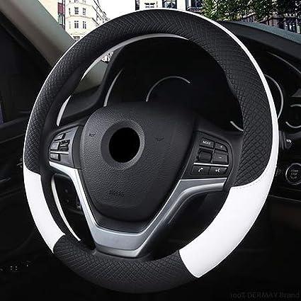 XuBa Coprivolante Universale per Auto in Pelle 37CM-38CM Coprivolante Sportivo per Auto Stile Auto Anti-Slip Nero Nero 38 Centimetri