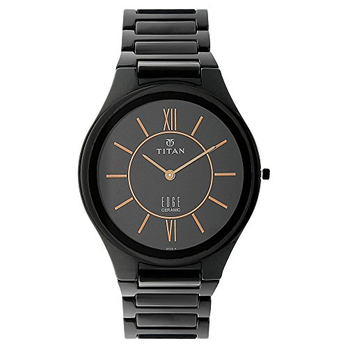 - Titan Edge Ceramic Black Dial Black Ceramic Strap Analog Watch for Men