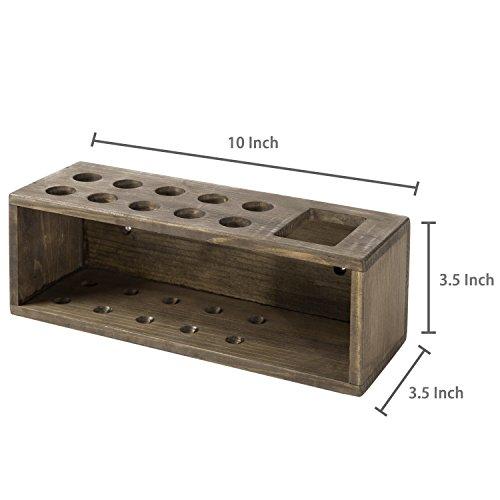 10 Slot Rustic Wood Wall Mounted Dry Erase Marker & Eraser Holder Storage Organizer, Brown by MyGift (Image #5)