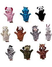10st Dieren Handvertelpoppen Set Plush Dieren Hand Puppet Cartoon Animal Pluche Handpop Interactive Puppet Handschoenen Voor Kinderen Storytelling Educatief Speelgoed 20cm