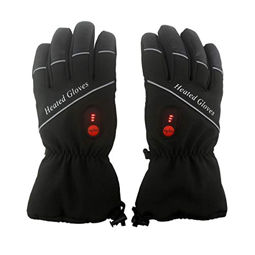 (Heated Motorcycle Gloves, Battery Heated Riding Gloves Rechargeable for Outdoor Research, Electric Heating Gloves for Winter, Heating Hunting Gloves with 7.4V 4400mA (2) Batteries (Black, XL))